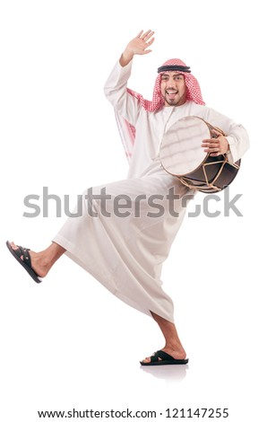 Arab man playing drum isolated on white - stock photo