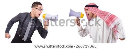Arab man shouting through loudspeaker isolated on white - stock photo