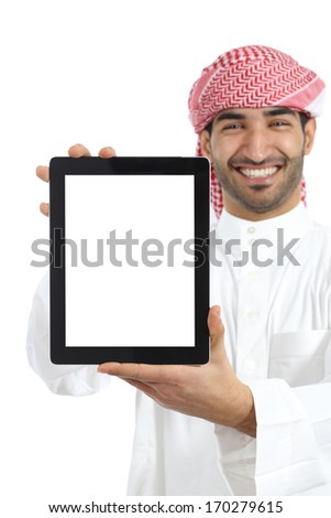Arab man showing a tablet display app isolated on a white background               - stock photo