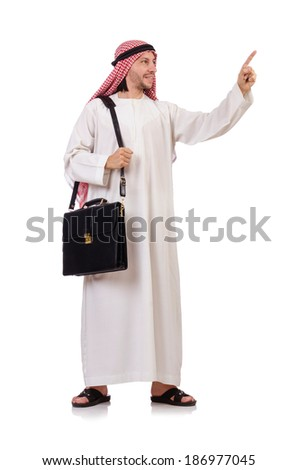 Arab man with briefcase pressing virtual buttons  isolated on white - stock photo