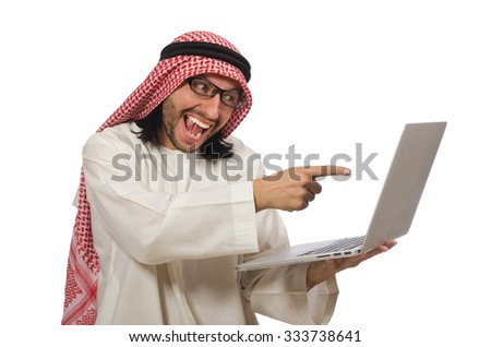 Arab man with laptop isolated on white - stock photo