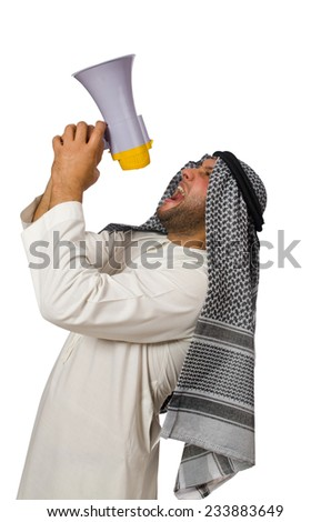 Arab man with loudspeaker isolated on white - stock photo