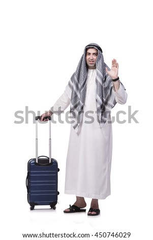 Arab man with suitcase in travel concept isolated on white