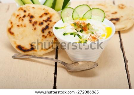 Arab middle east salatit laban wa khâ??yar Khyar Bi Laban goat yogurt and cucumber salad  - stock photo