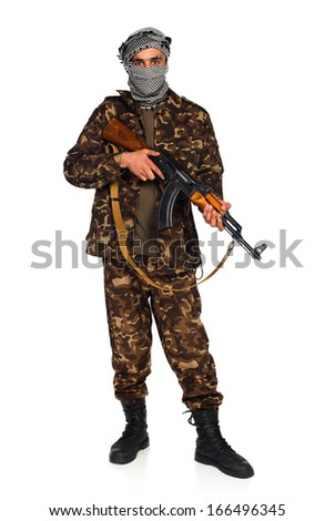 Arab nationality in camouflage suit and keffiyeh with automatic gun on white background with reflection