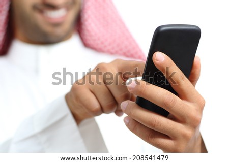 Arab saudi emirates man hand texting in a smart phone isolated on a white background           - stock photo