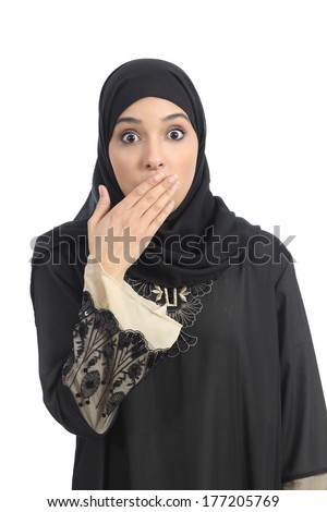 Arab saudi emirates woman covering her mouth with her hand isolated on a white background - stock photo