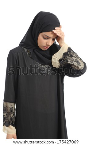 Arab saudi emirates woman with head ache isolated on a white background - stock photo