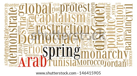Arab Spring Text Cloud  - stock photo