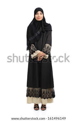 Arab woman posing standing wearing a hijab isolated on a white background          - stock photo