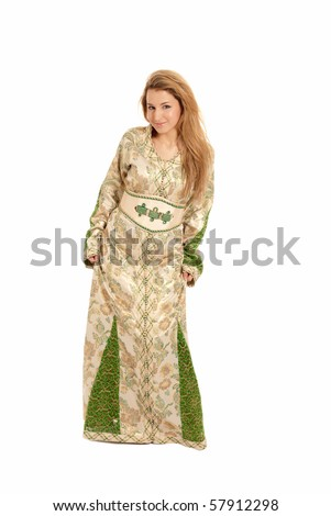 Arab young woman isolated on white background.