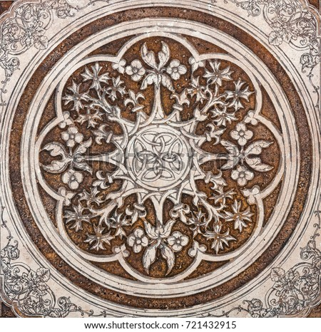 arabesque marble pattern texture abstract vintage background, floor tiles surface ornament flower pattern