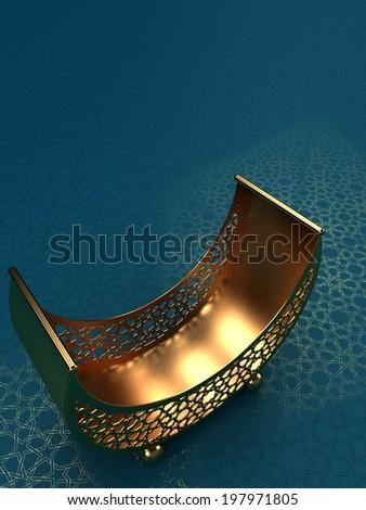 Arabesque Moon Basket on Blue background with arabesque pattern - stock photo