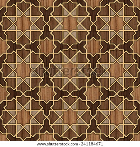 Arabesque Seamless Pattern in Wood and Gold