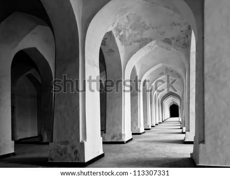 Arabian arches in Kolon mosque. Bukhara. Uzbekistan. - stock photo