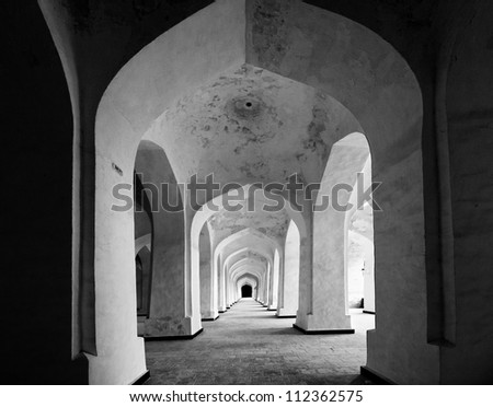 Arabian arhces in Kolon mosque. Bukhara. Uzbekistan. - stock photo