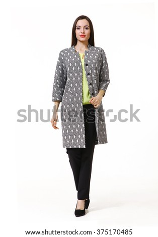 arabian asian eastern brunette business executive woman with straight hair style in woolen over coat   high heels shoes full length body portrait standing isolated on white  - stock photo