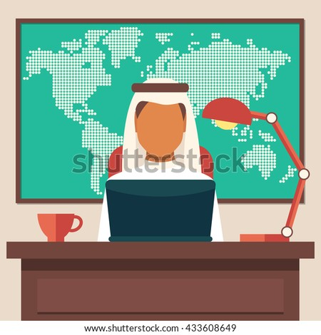 Arabian Businessman Working in The Office, Illustration - stock photo