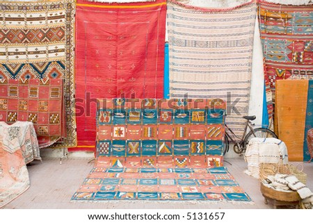 Arabian carpets market in the street - stock photo