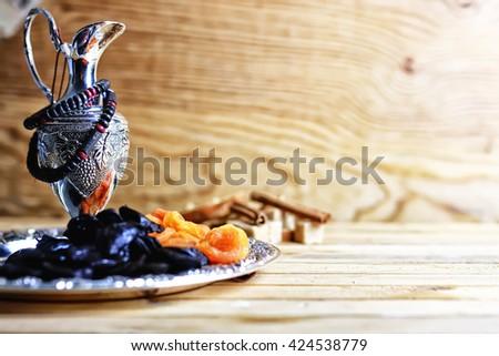 arabian dried fruit silver - stock photo