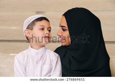 Arabian Family, Mother and son at home  - stock photo