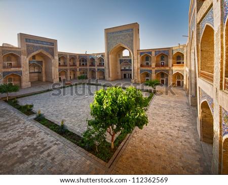 Arabian madrasah courtyard. Miri-Arab Madrassah, Bukhara - stock photo