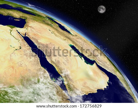 Arabian peninsula on planet Earth viewed from space. Highly detailed planet surface and clouds. Elements of this image furnished by NASA. - stock photo