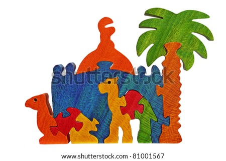 arabian  puzzle isolated on white background - stock photo