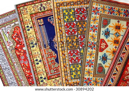 Arabian silk carpet - stock photo
