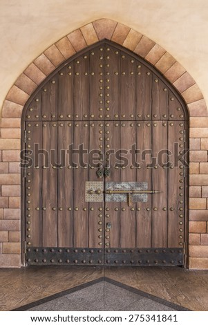 Arabian styled wooden gate  - stock photo