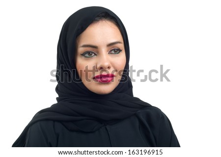 Arabian woman posing against a white background  - stock photo