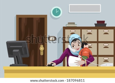 Arabian Working Woman With Her Child - stock photo