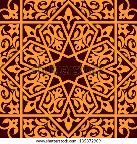 Arabic and islamic seamless ornament for background design. Vector version also available in gallery - stock photo