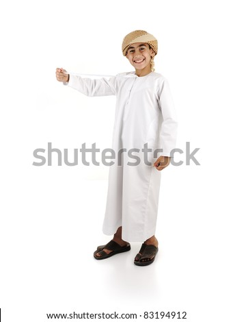 Arabic boy in traditional clothes isolated - stock photo