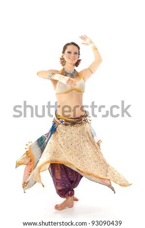Arabic dance beautiful girl in ethnic costume - stock photo