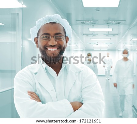 Arabic doctor with white uniforms in modern facility