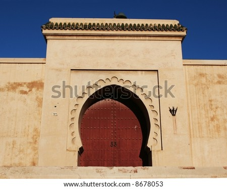 Arabic door in Marrakesh medina, Morocco - stock photo