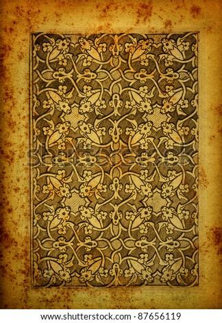 Arabic engraving on vintage paper - stock photo
