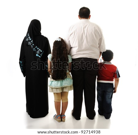 Arabic family, four members isolated - stock photo