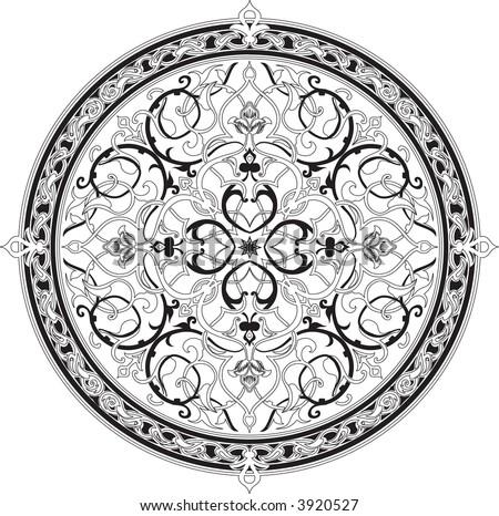 Arabic floral pattern motif Arabic floral pattern motif, based on Ottoman ornament. Raster version - stock photo