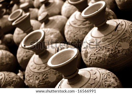 Arabic Handmade Crockery In A Bazaar In The Middle East - stock photo