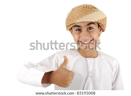 Arabic kid with thumb up - stock photo