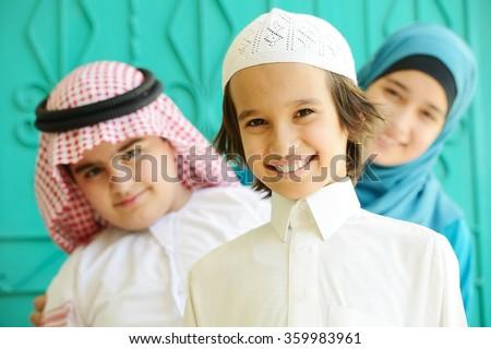 Arabic kids group - stock photo