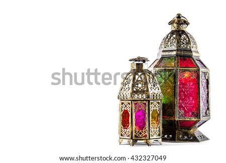 Arabic lantern isolated on white background. Oriental holidays decoration. Ramadan kareem. Eid mubarak - stock photo