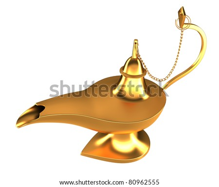 Arabic magic Genie lamp isolated over white background
