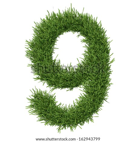 Arabic numeral made of grass. Isolated render on a white background