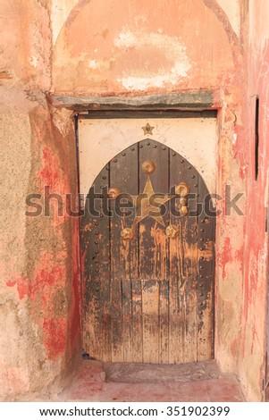 Arabic oriental styled door in Marrakech, Morocco - stock photo