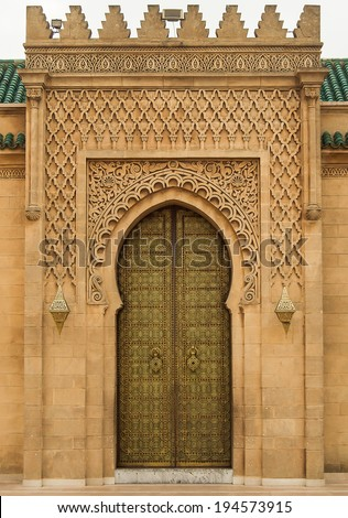 Arabic oriental styled door in Rabat, Morocco - stock photo