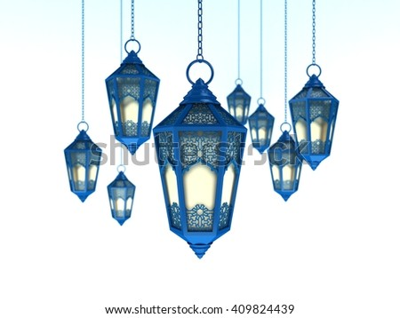 Arabic Ramadan Lantern | 3D Illustration | Arabesque Blue Space