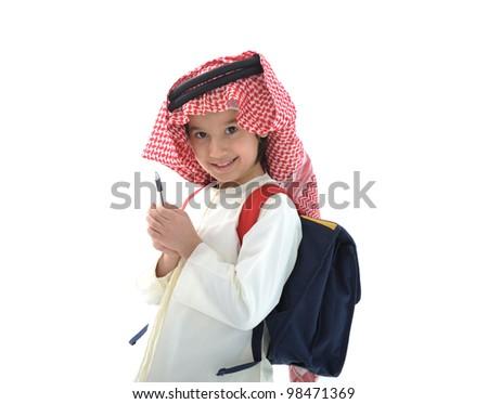 Arabic schoolboy holding pen - stock photo